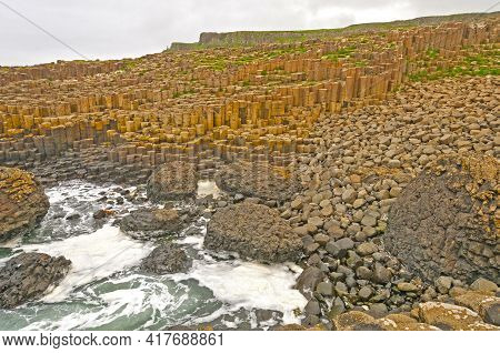 Pillow Lava And Postpiles On The Coast At The Giants Causeway In Northern Ireland