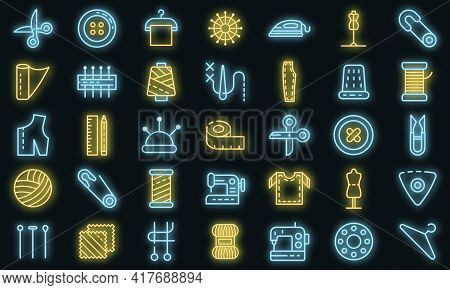 Tailor Icons Set. Outline Set Of Tailor Vector Icons Neon Color On White