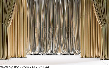 classic gold and silver colored curtains. 3d render
