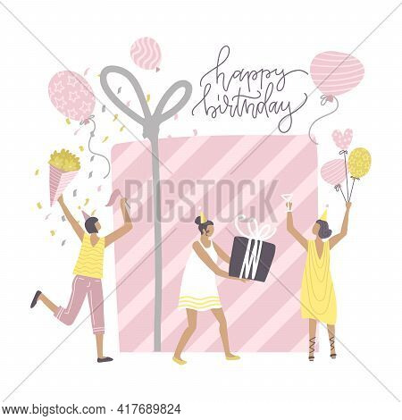 Concept With Birthday Celebrations Theme. Birthday Party Celebration With Friends. People Dance And