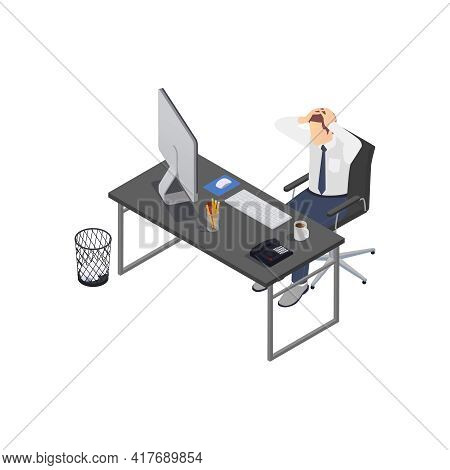 Professional Burnout Depression Frustration Isometric Composition With Business Worker Clutching Hea