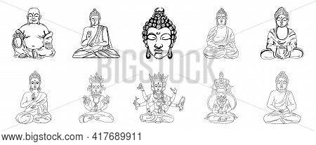 Vector Illustration Of Buddha, Meditation And Yoga