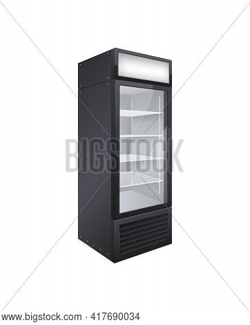 Commercial Glass Door Drink Fridge Realistic Composition With Isolated Image Of Shop Fridge Vector I