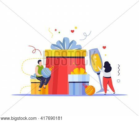 Merry Christmas And Happy New Year Composition With Human Characters And Gift Boxes With Ribbon Bows