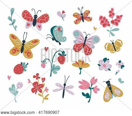 Set Of Isolated Magic Moths And Butterflies Vector. Boho Style Pastel Shades, Strawberries And Flowe