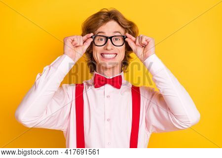 Photo Portrait Of Geek With Red Hair Smiling Overjoyed In Spectacles Shirt Suspenders Isolated On Br