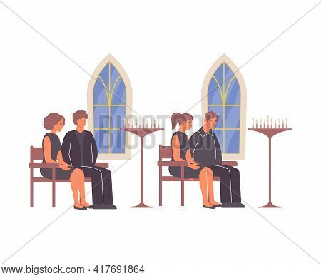 Funeral Services Composition Of Flat Icons And Human Characters Sitting In Church Vector Illustratio