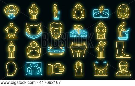 Overweight Icons Set. Outline Set Of Overweight Vector Icons Neon Color On White
