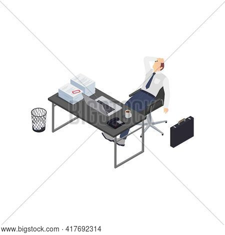 Professional Burnout Depression Frustration Isometric Composition With Business Worker Having Depres