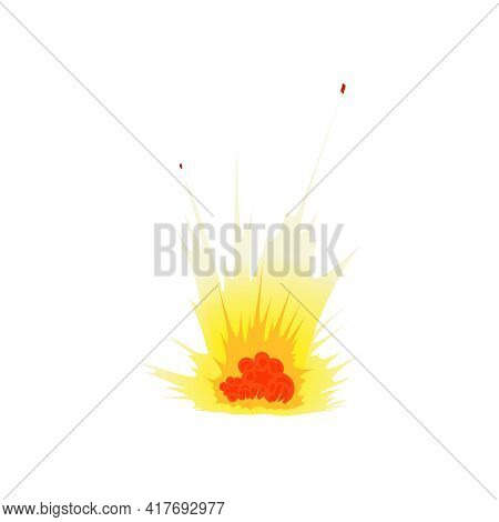 Bomb Explosion Fire Bang Amination Composition With Isolated Image Of Fire Flame On Blank Background