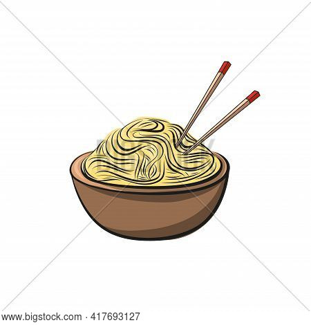 Chinese Noodles Drawn On White Background. Hand-drawn Vector Illustration. Fast Food.