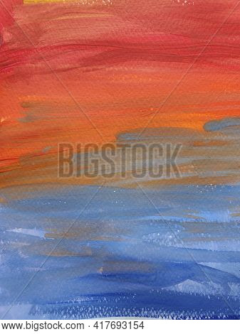 Paintbrush Strokes On Rough Watercolor Paper. Gradient Stripes Of Vibrant Color Paints Looking Like