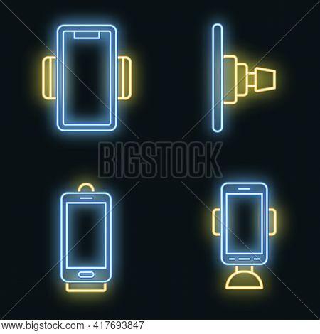 Mobile Phone Holder Icons Set. Outline Set Of Mobile Phone Holder Vector Icons Neon Color On White