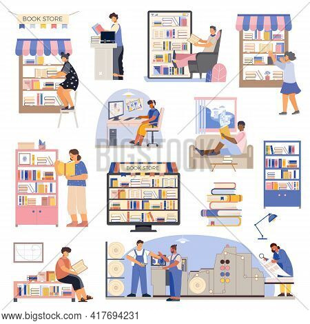 Colored Flat Book Icon Set With Book Store Shelves Readers Buyers Online Store And Publishing House