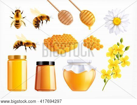 Honey Realistic Set With Isolated Icons Of Spoons Comb And Flowers With Bees And Full Jars Vector Il
