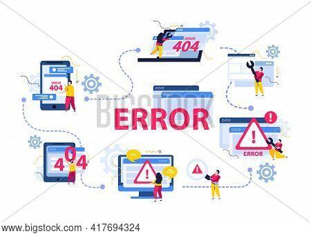 Computer Repair Concept With Error And Help Desk Symbols Flat Vector Illustration
