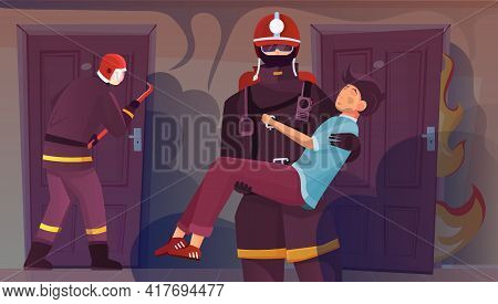Firefighters House People Flat Composition With View Of Apartment Doors With Saved Boy On Firefighte