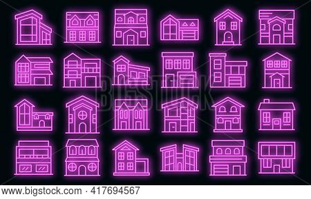 Cottage Icons Set. Outline Set Of Cottage Vector Icons Neon Color On White