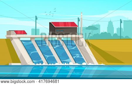 Ecological Sustainable Hydropower Energy Flat Composition With Suburb Hydroelectric Dam Using River