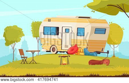 Trailer Outside Area With Camping Table Folding Chair Barbecue In City Suburb Caravan Park Cartoon C