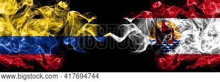 Colombia, Colombian Vs France, French Polynesia Smoky Mystic Flags Placed Side By Side. Thick Colore