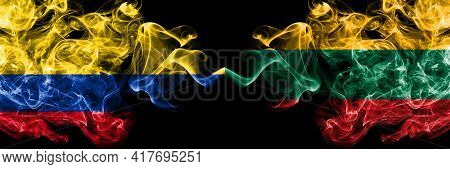 Colombia, Colombian Vs Lithuania, Lithuanian Smoky Mystic Flags Placed Side By Side. Thick Colored S