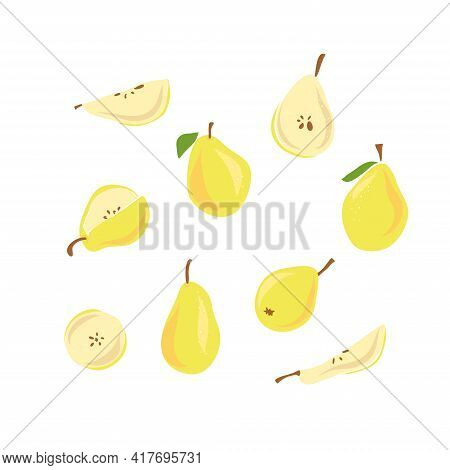 Hand Drawn Sketch Style Fruits Set. Bio Food Vector Illustration Collection On White Background. Sli