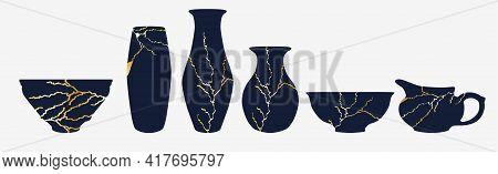 Renovated Kintsugi Japanese Vase Art Color Sketch Engraving Illustration. Imitation Of Scratch Board