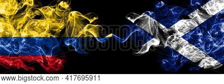 Colombia, Colombian Vs Scotland, Scottish, Scots Smoky Mystic Flags Placed Side By Side. Thick Color