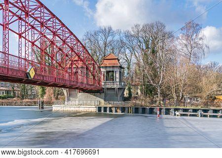 Berlin, Germany - February 19, 2021: Heritage-protected Steel Truss Haven Bridge ( Sechserbruecke) O
