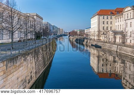 Berlin, Germany - March 1, 2021: Banks Of The Berlin-spandau Shipping Canal With The Building Of Ham