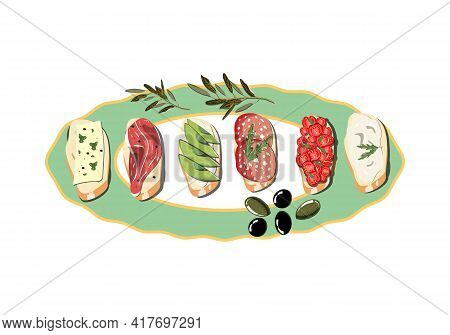 Ellipse Shaped Plate With Bruschetta On It With Olives. Vector Illustration.