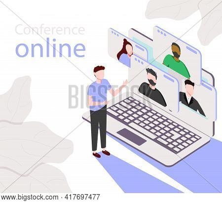 Conference Meeting Online Concept. Live Meeting On Laptop. Video Meeting Online.video Conference Lan