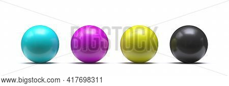 Spheres In Cmyk Colors - Cyan, Magenta, Yellow, Black 3d Render Illustration Isolated On White Backg