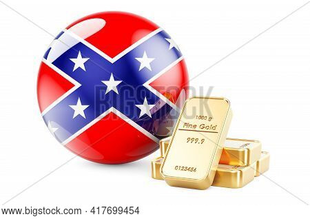 Golden Ingots With Confederate States Of America Flag, 3d Rendering Isolated On White Background