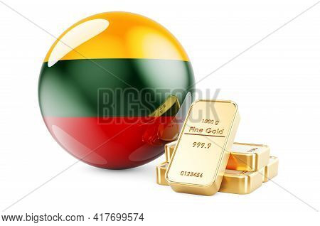 Golden Ingots With Lithuanian Flag. Foreign-exchange Reserves Of Lithuania Concept. 3d Rendering Iso