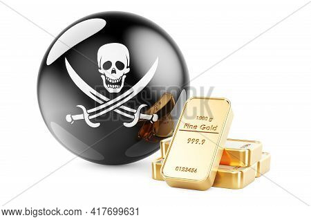 Golden Ingots With Piracy Flag, 3d Rendering Isolated On White Background