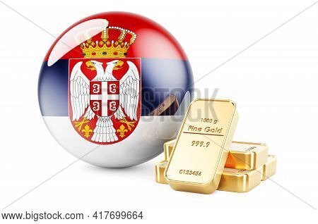 Golden Ingots With Serbian Flag. Foreign-exchange Reserves Of Serbia Concept. 3d Rendering Isolated