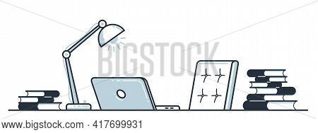 Workplace Of Intellectual Worker Employee Or Studying Student Vector Flat Illustration Isolated, Edu