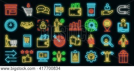 Buyer Icons Set. Outline Set Of Buyer Vector Icons Neon Color On White