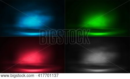Set Of Digital Scenes With Fog And Rays Of Lighting. Blue, Green, Pink And Gray Digital Neon Scenes