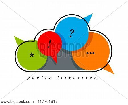 Public Discussion And Brainstorming Vector Concept Shown With Cloud Combined With Different Speech B