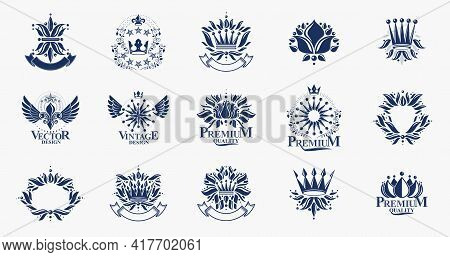 Classic Style De Lis And Crowns Emblems Big Set, Lily Flower Symbol Ancient Heraldic Awards And Labe