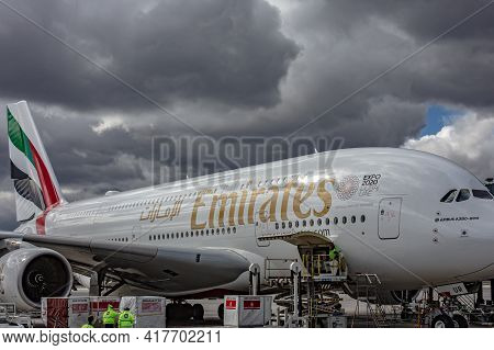 Prague, Czech Republic, 2.09.2020 - Emirates Airbus A-380-800 Super Jumbo Largest Passenger Aircraft