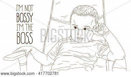 Cute Little Boy Kid Sitting In Office Chair Self Confident Like Bog Boss Vector Illustration, Funny