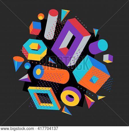 Colorful 3d Shapes Vector Composition On Dark Background, Bright Positive Dimensional Design Element