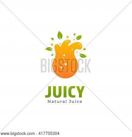 Natural Lime Fruit Fresh Juice Logo With Splash Liquid Orange Icon Illustration For Juice Bar Or Pre