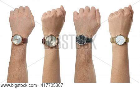 Collage With Photos Of People Wearing Wristwatches On White Background, Closeup