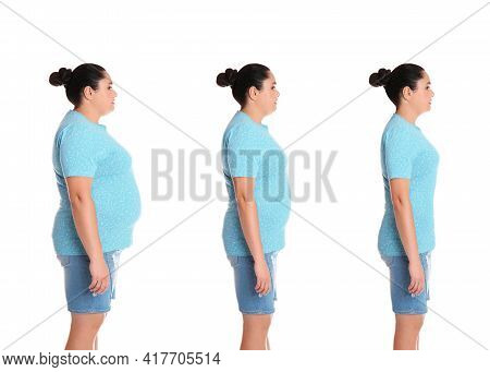 Woman Before And After Weight Loss On White Background, Collage