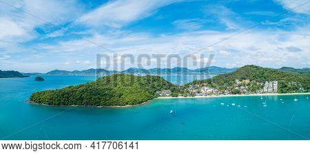 Aerial View Drone Shot Of Panorama Phuket Island Beautiful Island In Thailand Amazing High Angle Vie
